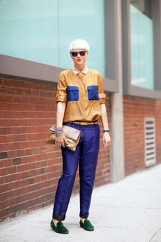 Love her menswear-inspired outfit...