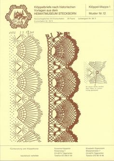 Crochet Borders, Crochet Chart, Crochet Lace, Doilies Crochet, Bobbin Lace Patterns, Doily Patterns, Crochet Patterns, Dress Patterns, Bobbin Lacemaking