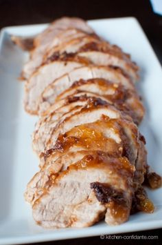Indonesian Pork Tenderloin by kitchen-confidante: Spiced with soy, peanut butter, red pepper flalkes, garlic and mango chutney! #Pork_Tenderloin #kitchen-confidante