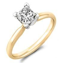 1.95 ct. Princess Diamond Solitaire Ring 14KY with Platinum Head Sz 10.5 (H-I, SI2)