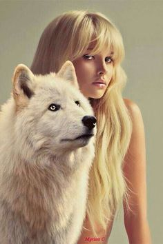 Girl with wolf Wolf Spirit, Spirit Animal, Fantasy Animal, Animals And Pets, Cute Animals, Wolf Hybrid, Wolves And Women, Wolf Love, Beautiful Wolves