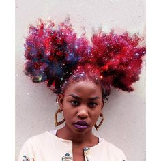 Afros Turned Into Flowery Galaxies To Make Black Women Proud Of Their... ❤ liked on Polyvore featuring hair, models and people