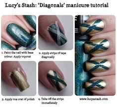 Gold and holographic teal Diagonals tape manicure tutorial featuring Hits and China Glaze