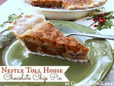 Cooking with K - Southern Kitchen Happenings: Nestle Toll House Chocolate Chip Pie {My New Favorite} Just Desserts, Delicious Desserts, Yummy Food, Awesome Desserts, Pie Dessert, Dessert Recipes, Pie Recipes, Granny's Recipe, Recipes