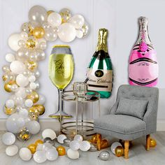 Champagne Bottle Balloons Party Balloon Decoration DIY Balloon Garland Arches Gold Silver Confetti Balloons Kit for Bridal Shower Wedding Birthday Decor Balloon Centerpieces, Balloon Decorations Party, Balloon Garland, Birthday Decorations, Birthday Ideas, Champagne Balloons, Confetti Balloons, Bridal Shower, Baby Shower
