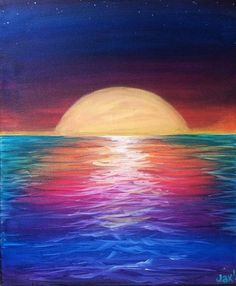 Setting moon over rainbow sea. 80 Artistic Acrylic Painting Ideas For Beginners