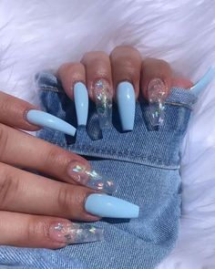 Pin by Lisa Firle on Nageldesign - Nail Art - Nagellack - Nail Polish - Nailart - Nails Nail Design Glitter, Cute Acrylic Nail Designs, Glitter Nails, Long Nail Designs, Clear Nail Designs, Blue Nails With Design, Acrylic Nails With Design, Coffin Nail Designs, Coffin Nails Designs Summer