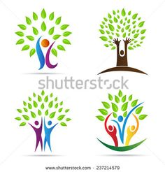 Abstract tree vector design represents Eco friendly green, family tree, signs and symbols. Vector Design, Vector Art, Logo Arbol, Free Cliparts, Daycare Logo, Carta Logo, Family Logo, Element Symbols, Friend Logo