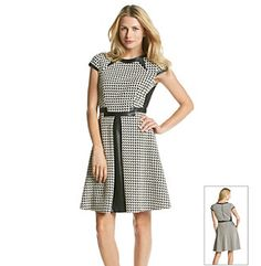 Julia Jordan Houndstooth Fit And Flare Dress