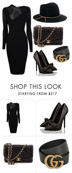 """Black out"" by modestyqueen ❤ liked on Polyvore featuring Versace, Chanel, Gucci and Eugenia Kim"