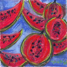 pastèques  15 x15 cm pastel Marie-France oosterhof