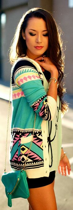 Love the cardigan and the bag