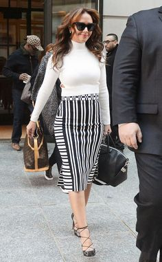 'Troublemaker' author Leah Remini took to NYC, looking cute in a black and white ensemble.
