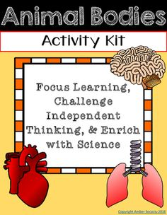 **Aligns+to+4th+Grade+NGSS**Animal+Bodies+Activity+Kit+is+a+fun,+interactive+way+for+students+to+learn+about+science!+Make+learning+without+a+textbook+motivating+and+exciting+for+students!Included+in+this+kit+you+will+find:-Animal+Bodies+Activity+Kit+Menu+(keeps+students+independent+learning+focused+with+6+activity+choices)-Animal+Support+&+Movement+Research+Slideshow+(planning+card+and+directions+card)-Animal+Structures+Pamphlet+(copy+back+to+back+to+create+pamphlet+for+recording+resear...