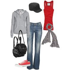 Jeans, grey sweatshirt, red tank, striped scarf & red converse (wish they made red Jack Purcells)
