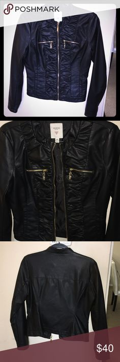 Guess ruched faux leather jacket Black faux leather jacket with gold details. Worn once and in perfect condition. It's a little snug on me because of my big shoulders and biceps so I hope it can find a new home :) Guess Jackets & Coats
