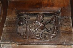 Winter misericord by Richard Croft, via Geograph Small Wooden Shelf, Petite Console, Mercy Seat, Religious Architecture, Mystery Of History, The Monks, Wood Carvings, Stalls, Choir