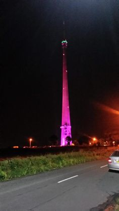 The mast looking Awesome lit up in colour for the Tour de France.