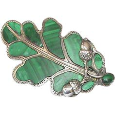 Large Antique Victorian Sterling Silver Scottish Agate Oak Leaf & Acorn Brooch