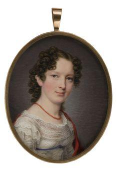 Dame in weißem Kleid mit rotem Schal-Heinrich Jakob Aldenrath um 1815