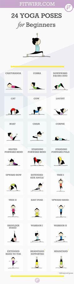 Yoga post on 24 Yoga Übungen für Anfänger - bei den süßen Bildchen macht der Start gleic...
