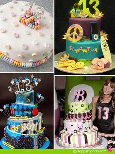 13th Birthday Party Cakes - Number 13 rhinestone on simple conversation hearts cakes, Retro Surf Hip Gadget Cake, Topsy Turvy Cake for Bella Avery Thorne's 13th Birthday, City Scape Tiered Cake for Boys 13th Birthday