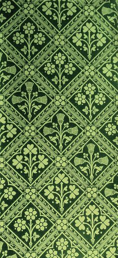 Victorian Thistle Shamrock Wallpaper in green