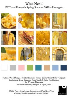 S/S 2019 colors trends: pineapple Spring Summer Trends, Spring Fashion Trends, Fashion Colours, Colorful Fashion, Color Trends 2018, Trend Council, Fashion Forecasting, Graphic Design Trends, Fashion And Beauty Tips