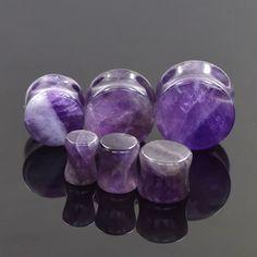 Pair Organic Natural Amethyst Flesh Tunnels Purple Stone Ear Plugs Ear Gauges #UnbrandedGeneric