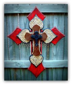 XLarge Wall CROSS  4 layers  antiqued red & leopard by happygoose, $79.95