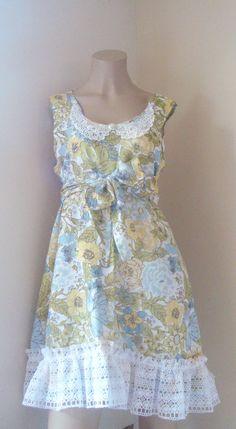 Shabby floral Vintage Tea Dress Cottage chic by BlackRainCouture