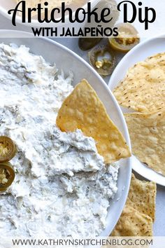 This Spicy Artichoke Dip is creamy, chunky and has the perfect amount of spice with jalapeños! Enjoy as a quick and easy appetizer or snack! #artichoke #artichokedip #spicy #spicydip #dip #jalapeno #easyappetizer #easydip