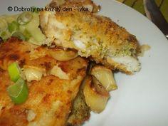 Smažený halibut v brokolicovém těstíčku s česnekovou bramborovou kaší