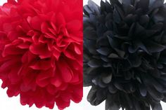 6 Tissue Poms for a red and black #graduationparty by SweetTeaPaper on Etsy