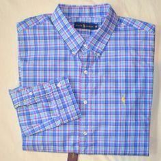 New XXL 2XL POLO RALPH LAUREN Mens button up down dress shirt blue plaid 18 RL