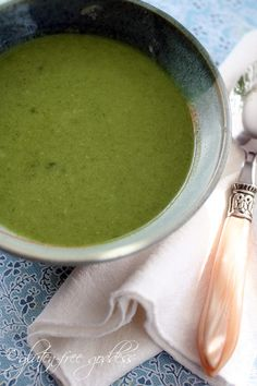 Vegan and gluten-free Detox Green Soup with broccoli, spinach and ginger, from Gluten-Free Goddess.