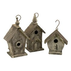 IMAX IMAX Cottage Mitchell Wood Bird Houses, 3 Piece Set