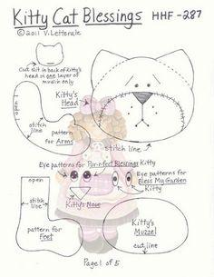 Raggy Dolls, Felt Dolls, Felt Doll Patterns, Doll Clothes Patterns, Plush Pattern, Cat Pattern, Cat Template, Stitch Lines, Cat Pillow