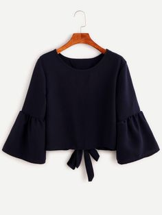 Shop Navy Bell Sleeve Bow Tie Back Blouse online. SheIn offers Navy Bell Sleeve Bow Tie Back Blouse & more to fit your fashionable needs. Girls Fashion Clothes, Teen Fashion Outfits, Cute Fashion, Look Fashion, Hijab Fashion, Girl Fashion, Fashion News, Crop Top Outfits, Cute Casual Outfits