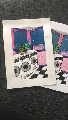 Vibey room painting / pink laundrette acrylic painting / cool   Etsy Wall Collage, Wall Art, Floral Illustrations, Room Paint, Contemporary Paintings, Line Drawing, Night Time, Pagan, Frames