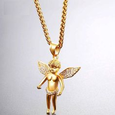 Starlord Cherub Angel Necklace With Austrian Rhinestone Stainless Steel/Gold Color Chain Baby Angel Collar Necklace Types, Gold Necklace, Pendant Necklace, Angel Wing Necklace, Stainless Steel Material, Star Lord, Metal Necklaces, Cherub, Necklace Designs