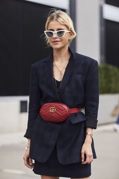 Navy belted oversize blazer, red Gucci bag, white sunnies.  Street style, street fashion, best street style, OOTD, OOTD Inspo, street style stalking, outfit ideas, what to wear now, Fashion Bloggers, Style, Seasonal Style, Outfit Inspiration, Trends, Looks, Outfits.
