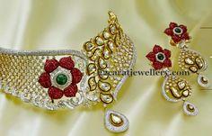 Jewellery Designs: Rose Motif Collar Diamond Choker