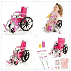 Girl Pink Wheelchair Toy Set Pretend Play 18-Inch Doll Leg Crutches Cast Gift