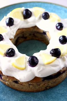 """This Gluten-Free Vegan Lemon Blueberry Bundt Cake is moist and fluffy, fresh and fruity, and covered in a rich """"cream cheese"""" frosting! Vegan Baking Recipes, Sugar Free Recipes, Gluten Free Recipes, Pudding Recipes, Cake Recipes, Dessert Recipes, Vegan Desserts, Lemon Blueberry Bundt Cake, Brunches"""