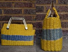 Vintage 60's Mantessa Yellow & Blue Woven by RoslynVTGTradingCo, $36.00