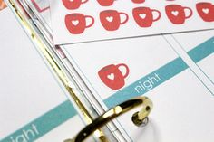 30 Red Heart Mug Stickers! Perfect for your Erin Condren Life Planner, Filofax, Plum Paper & other planner or scrapbooking!