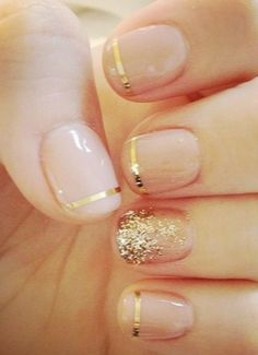 Nude Nails + Gold Tips or on French tips with white glitter // Looks pretty easy if I use foil nail tape.