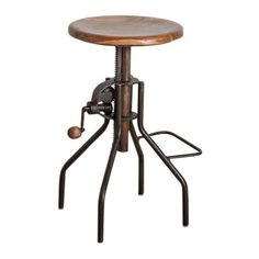 Bring a touch of industrial-inspired style to your decor with this handsome barstool, showcasing an old iron lacquer finish and adjustable hand crank. ...
