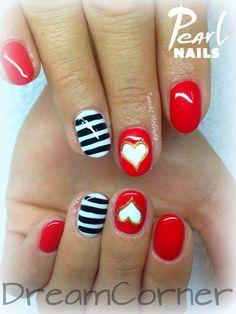 Valentin napi körmök 204 PearLac One Step gél lakkal Tamás Melindától. :-) / Valentin-day nails made with 204 PearLac One Step (red) gel polish, made by Melinda Tamás. #pearlnails #valentinesday #gelpolish #nails #nailart #nailartdesigns #nailstagram #géllakk #gelnails